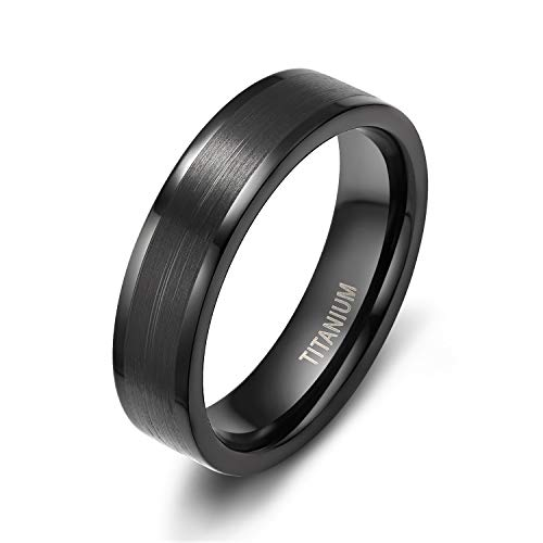 TIGRADE 6mm Men's Women's Black Tungsten/Titanium Rings Flat Brushed Pipe Cut Wedding Band Comfort Fit (Titanium, -