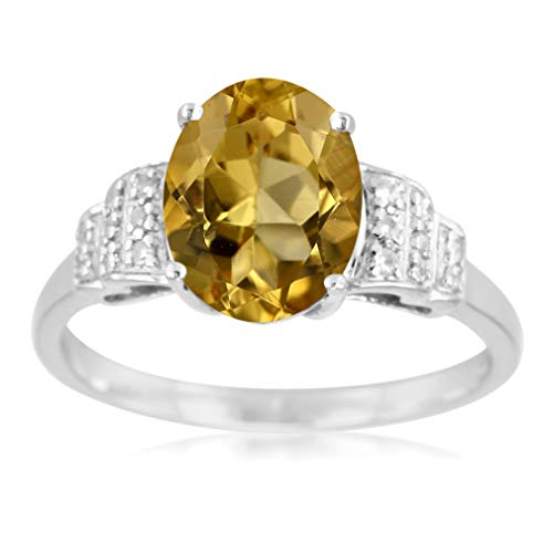Silvershake 2.1ct. Natural Yellow Beryl and Zircon 925 Sterling Silver Cocktail Ring Size 7