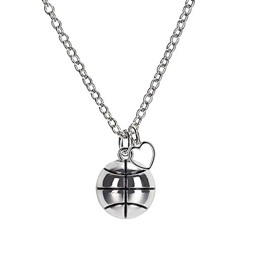 """Basketball Charm Necklace (GIMMEDAT Basketball Heart Charm Enamel Necklace 18"""" Chain 