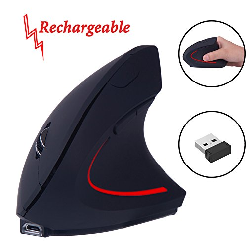 EIGIIS Ergonomic Rechargeable Handheld Mouse Adjustable DPI 800/1200/1600 High Precision Optical Vertical Scroll Endurance Thumb Mouse Mice For Laptop PC Desktop Notebook - Black Rf Wireless Optical Mouse