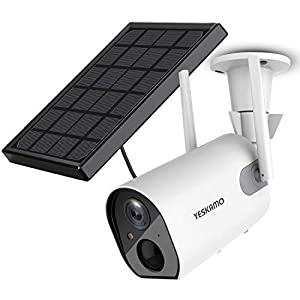 Solar Security Camera Wireless Outdoor WiFi Camera, YESKAMO HD 1080P Solar Powered Camera 10400mAh Battery IP Camera for…