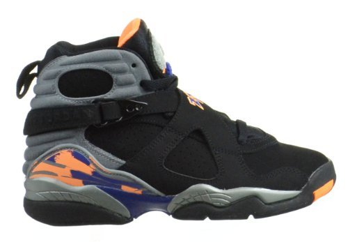 Nike Youth (BOYS) Air Jordan 8 Retro Basketball Shoes Black/Bright Cactus/Cool Grey 305368-043 Size 4.5 by NIKE