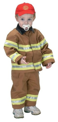 Jr. Fire Fighter Suit with Embroidered Cap, Size 18Month (tan) ()