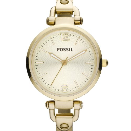 Fossil Georgia ES3084 - Reloj analógico de cuarzo para mujer, correa de acero inoxidable color dorado (agujas luminiscentes, cifras luminiscentes): ...