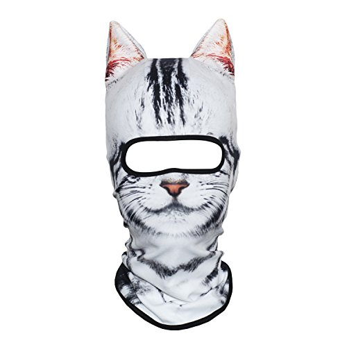 (AXBXCX 3D Face Mask Animal Ears Fleece Thermal Neck Warmer Windproof Protection for Ski Snowboard Snowmobile Halloween Winter Cold Weather American Shorthair Cat)