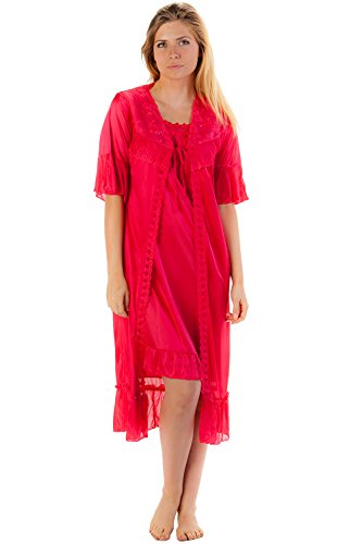 2 Piece Nightgown (Casual Nights Women's Satin 2 Piece Robe and Nightgown Set - Red -)