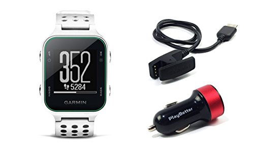 Garmin Approach S20 (White) Golf GPS Watch Bundle with PlayBetter USB Car Charge Adapter