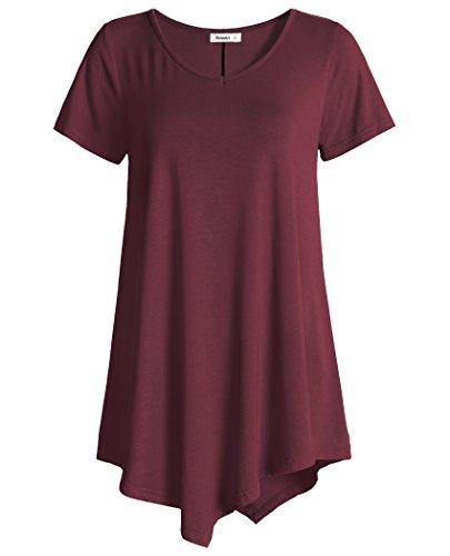 Esenchel Women's V-Neck Swing Shirt Casual Tunic Top for Leggings M Wine Red from Esenchel
