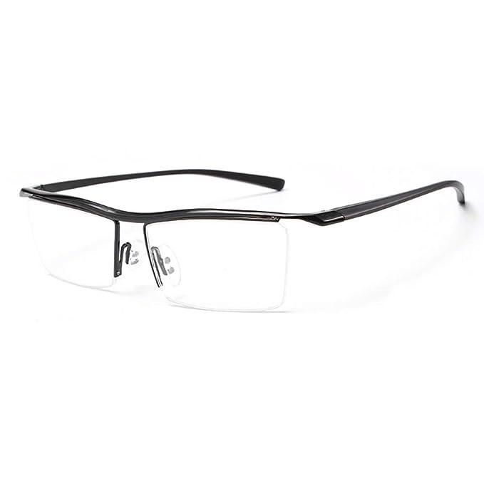 a6e2a2dab36c AZB Men's Rimless Glasses Rx Optical Eyeglasses Memory Spectacles Frame  glasses (Black)