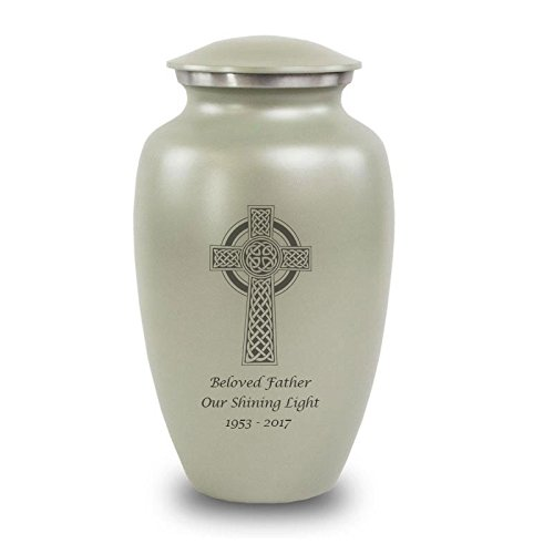 OneWorld Memorials Celtic Cross Aluminum Cremation Urn - Large - Holds Up to 200 Cubic Inches of Ashes - Grey Cross with Engraving Urns for Human Ashes - Custom Engraving Included