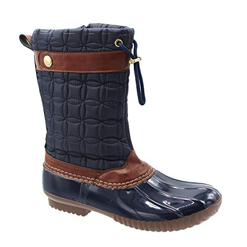 Jessica Carlyle Lilly-55 Duck Women's Lace Up Two Tone Combat Style Calf Rain Duck Boots Blue 8