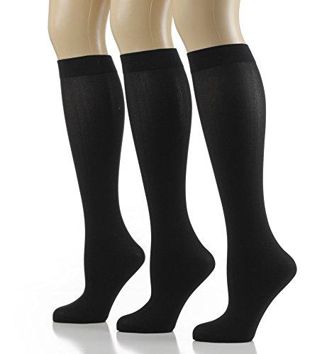 - 3-Pairs Noble Mount Women's Microfiber Anti-Pilling Knee-Hi Trouser Socks - Black