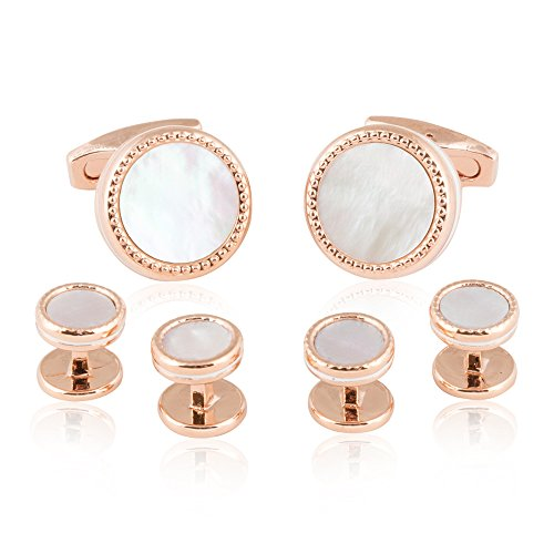 Cuff-Daddy Rose Gold Mother of Pearl Cufflinks and Studs Formal Set with Presentation (Rose Gold Set Cufflinks)