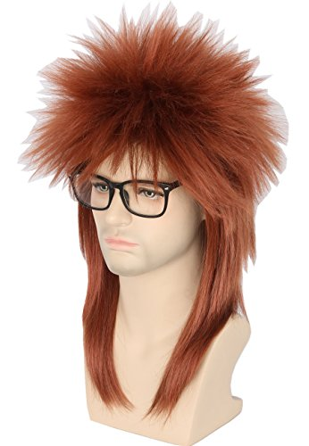 (Topcosplay Men or Women Halloween Costumes Wig Brown Rocker Star Wig Punk Metal Mullet Spiky Wig)