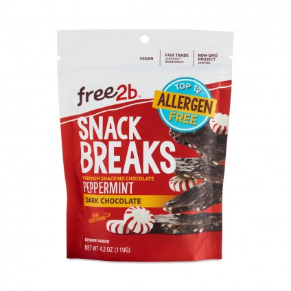 Free2b Foods Dark Chocolate Peppermint Snack Breaks Gluten-Free, Dairy-Free, Nut-Free and Soy-Free - 4.2 Oz. (Pack of 3)