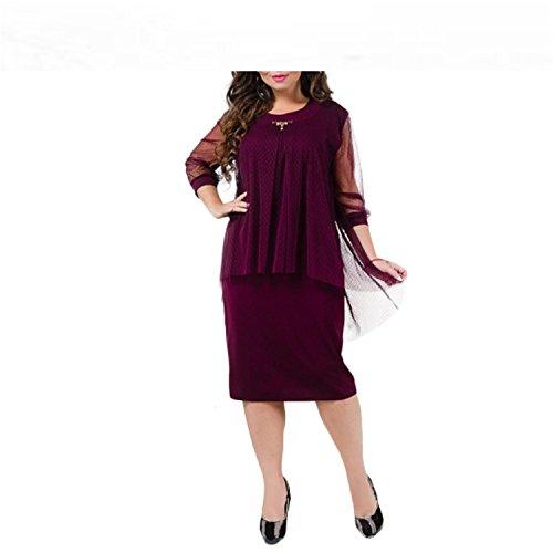 Plus Size Dresses Designer - Baqijian Summer Dress Plus Size Women Dress Straight Patchwork Mesh Dress Large Size Sheer Party Dress 5XL 6XL Red 5XL