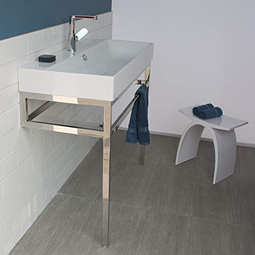 Optional solid surface shelf for floor-standing metal console stand AQS-BX-40, Matte Black ()