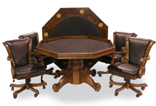 Executive Game Table Set (with 4 chairs) (Chestnut)