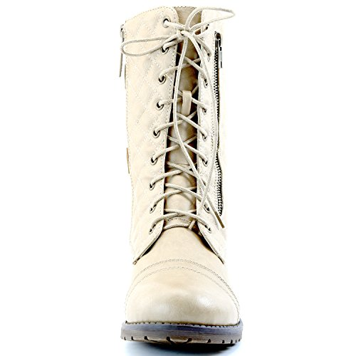 DailyShoes Women's Military Lace up Buckle Combat Boots Mid Knee High Exclusive Quilted Credit Card Pocket, Quilted Ivory White Pu, 13 B(M) US by DailyShoes (Image #8)