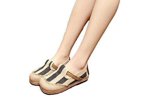 Ausom Womens Fashion Harajuku Stil Slip-on Flat Linje Espadrilles Dagdriver Canvas Sko Blå