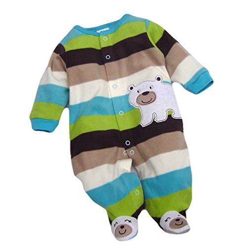 Baby Winter Warm Hoodie Toddler Romper Outfit Cartoon Jumpsuit (3-6months, Blue)