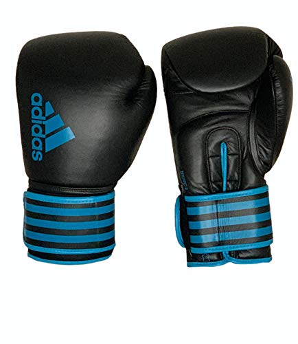 adidas Pro Hybrid Boxing Gloves 100% Real Cow Leather (Black/Blue, 16oz)