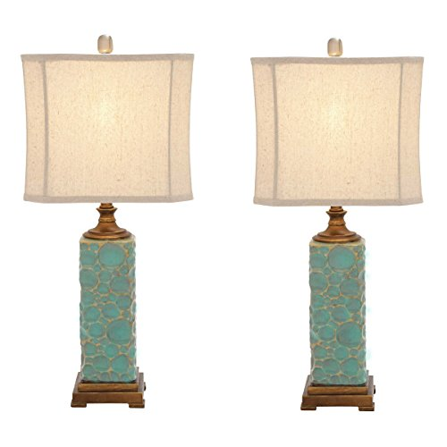 (Urban Designs Carmel Seafoam Handcrafted Table Lamp - Set of 2 Polystone)