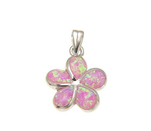Pendant Mm Plumeria 15 (925 Sterling silver pink synthetic opal Hawaiian plumeria flower pendant 15mm)