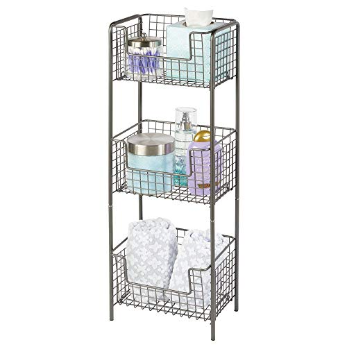 mDesign 3 Tier Vertical Standing Bathroom Shelving Unit, Decorative Metal Storage Organizer Tower Rack with 3 Basket Bins to Hold and Organize Bath Towels, Hand Soap, Toiletries - Graphite Gray