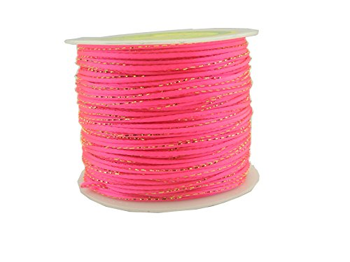 (KONMAY 100 Yards 2.0MM Metallic Bugtail Satin Cord Shamballa Macrame Beading Nylon Kumihimo String (Neon Pink F106))