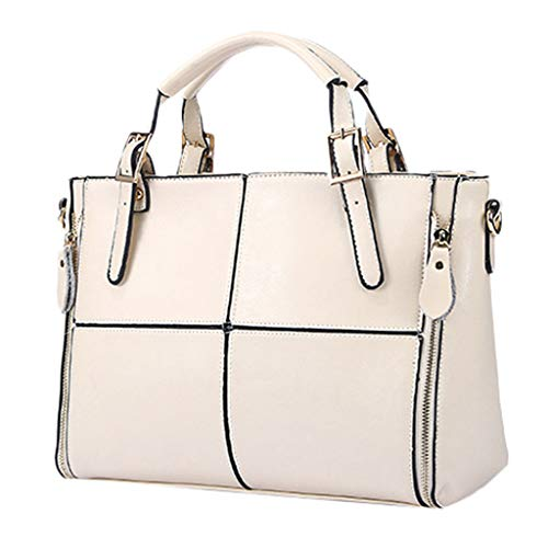 (Ladies Leather Tote Bag Surface Cut Square Pattern Briefcase Outside Two Zipper Satchel Large Capacity Retro Wild Large Capacity Ladies Handbag (White))