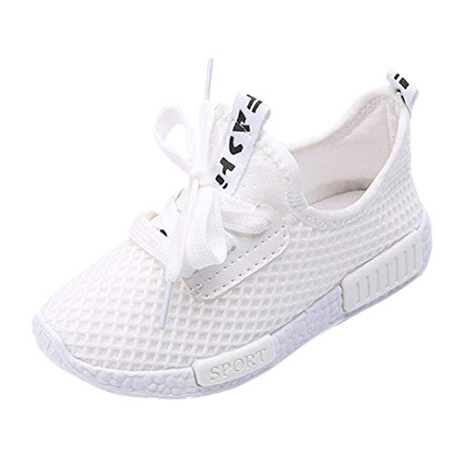 Fiaya Kids Sneakers Mesh Breathable Lightweight Athletic Running Tennis Shoes (Toddler/Little Kid/Big Kid) (White, 5-5.5T)