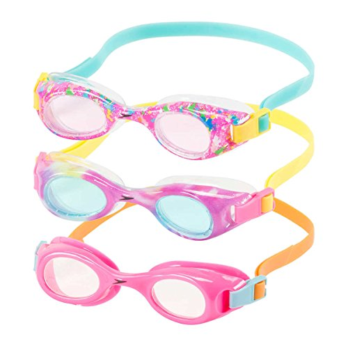 Speedo Kids Swim Goggles Triple Goggle Pack ~ Fun Prints (Pink)