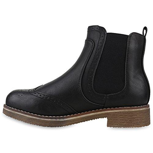 Schwarz mit Boots Stiefeletten Blockabsatz Cabanas Profilsohle Stiefelparadies Damen Flandell Chelsea 4C8tnIq