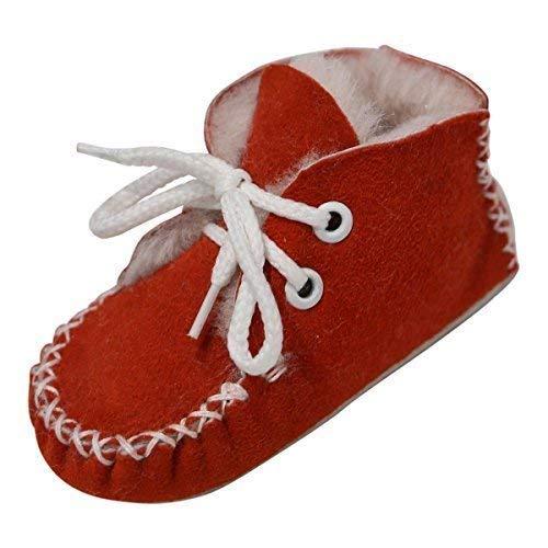Bébé Avec Fashion D'agneau Chaussons Premium En Chaussures Fourrure German Cuir Echt De Maxi Semelle Hollert Rouge Agneau Laine Merino Leather Tqx1vE0