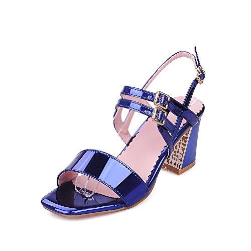 Blue PU Open Women's Heels Solid VogueZone009 Toe Buckle Sandals Kitten qwAHv7xP