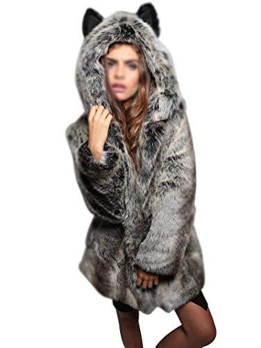 Invernali Pelliccia Weimilon Giacca Lanoso Confortevole Lunga cappuccio Manica Cappotti Qualità Cappotto Donna Con Grau Alta Sintetica Caldo SXHqBAX