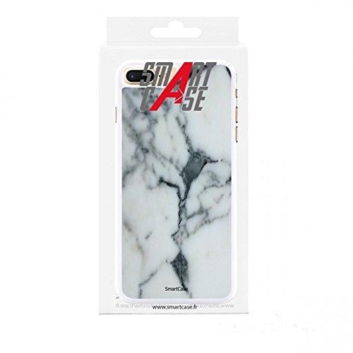 Coque + Verre Trempé pour iPhone 7 Plus SmartCase® motif marbre Blanc
