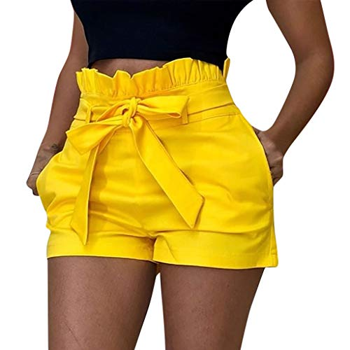 Chaofanjiancai_Pants 2019 New Shorts for Women Fashion Shorts Sexy Hollow Out Summer Woman Beach Shorts with Pockets Yellow