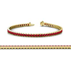 Ruby 2mm Channel Set Tennis Bracelet 2.55 ct tw in 14K Yellow Gold