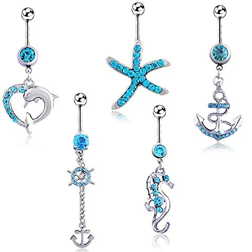 HoBST Holiday Sexy Starfish Dolphin Seahorse Dangle Belly Button Rings Set for Men Women Girls Stainless Steel Body Piercing Jewelry