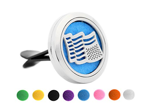 Aromatherapy Perfume (Aromatherapy Car Diffuser 316L Stainless Steel Perfume Fragrance Air Freshener Essential Oil Locket Vent Clip 8pcs Refill Color Pads 30MM US Flag)