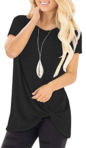 - onlypuff Black Summer Tops for Women Knot Shirts Twisted Casual Short Sleeve T Shirt Medium