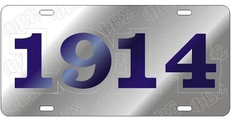 Phi Beta Sigma License Plate Car Tag - Foudning Year, Silver (#6209)