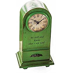 Manual Woodworkers & Weavers 104487 Clock - Be Still And Know - Tabletop - Vintage Green