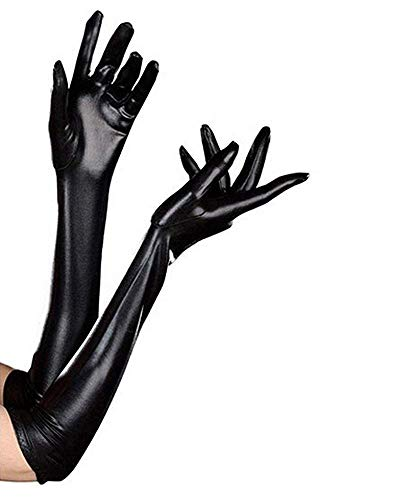 Long Leather Latex Gloves for Women - 21'' Catwoman Gloves Costume for Women Black Wet Look Shiny Vinyl Cosplay Gloves for Halloween Party