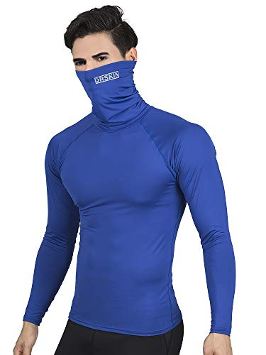 DRSKIN Turtleneck Compression Top Shirt Thermal Wintergear Underwear Baselayer HeatGear Long Sleeve Microfiber Fleece Lined (HOT Turtleneck SBU06, L)