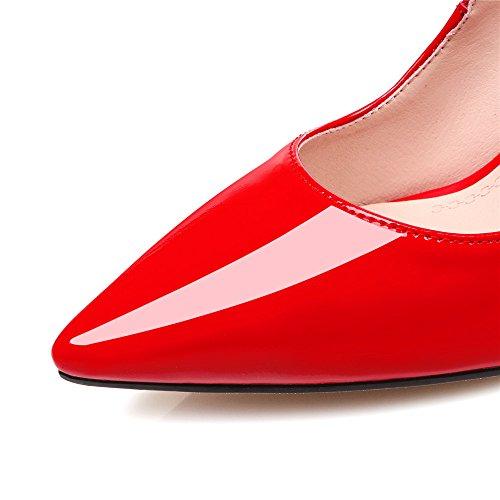 Dello Nove Pompa Appuntita Della Handmade Stiletto Vernice Sette Rosso Vestito Punta Donne Tallone nYqgF8wq