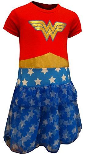 DC Comics Girls' Big Wonder Woman 'Costume Logo' Pajama Nightgown, Multi, 6/6X -
