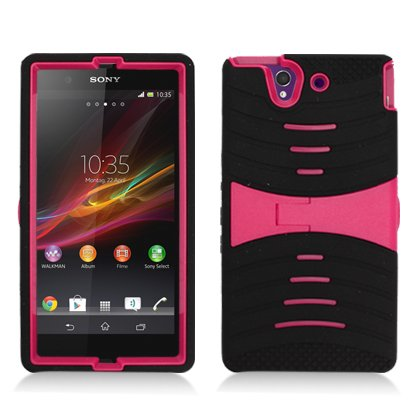 AIMO Rugged Wave Armor Case w/ Built-in Kickstand for Sony Xperia Z C6603 -
